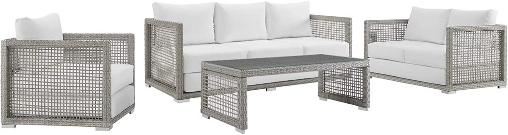 Modway Aura Outdoor Patio Wicker RattanSofa, Loveseat, Armchair and Coffee Table in Gray White