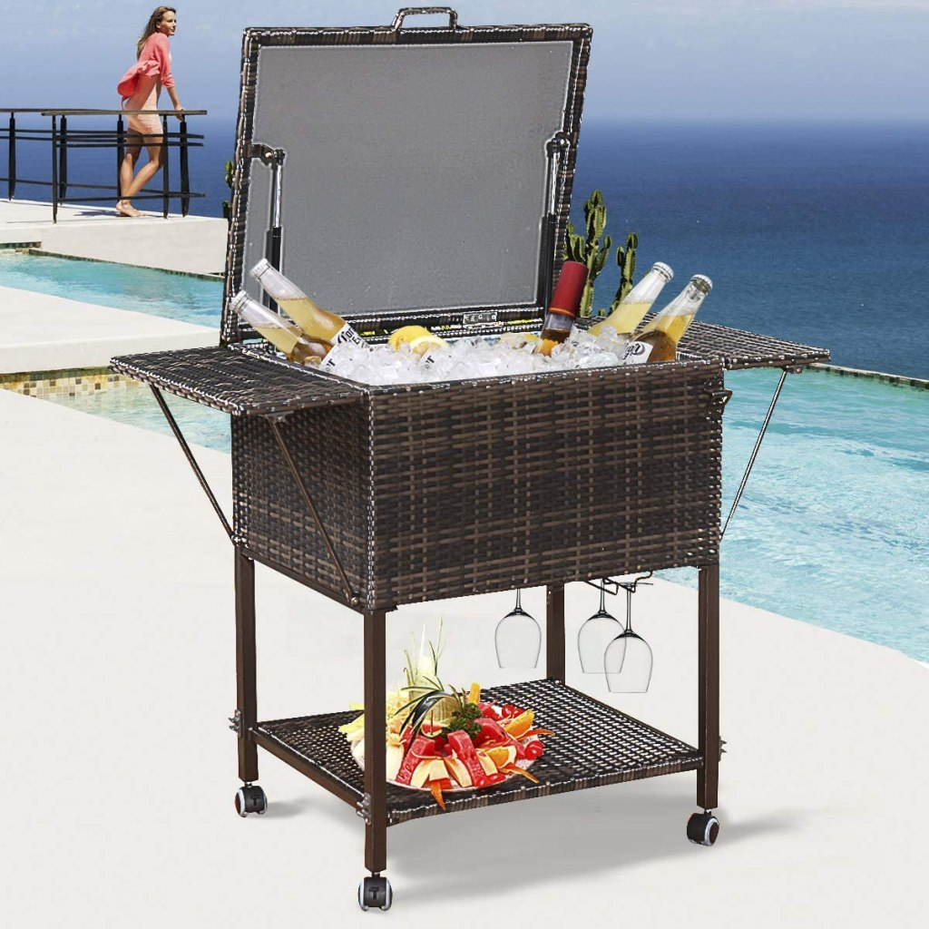 Nightcore 108 Quart Rattan Beverage Cooler Cart, Rolling Cooler with Shelf & Hanger, Ice Chest on Wheels, Portable Patio Backyard Cooler Trolley, Wicker Cooler Cart for Yard, Garden, Party