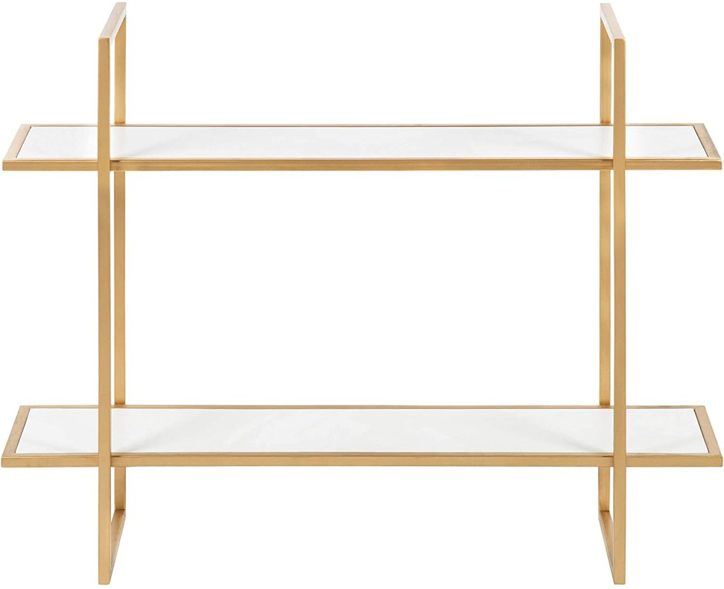 """Kate and Laurel Leigh Wood and Metal Wall Shelf, 30"""" x 24"""", White and Gold, Unique Modern Glam Home Decor with Efficient Storage Shelves for Smaller Spaces"""