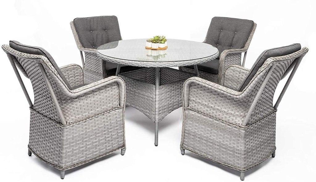 DIMAR GARDEN 5 Pieces Outdoor Patio Furniture Set Rattan Wicker Coffee Table and Chair, Porch Conversation (Mix Gray)