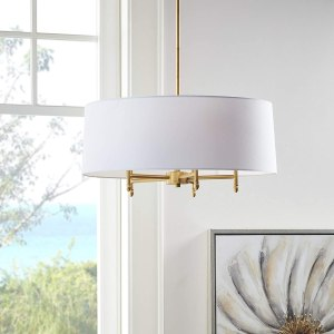 """Hampton Hill MPS150-0067 Presidio 5 Modern Chandeliers-Metal, Fabric Shade Pendant Ligthing Lamp Ceiling Dining Lighting Fixtures Hanging, 24"""" Wide, White/Gold"""