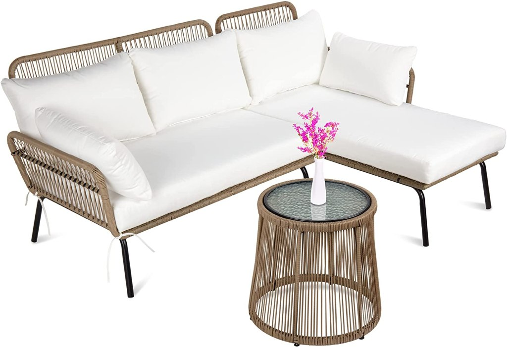 Best Choice Products Outdoor Rope Woven Sectional Patio Furniture L-Shaped Conversation Sofa Set for Backyard, Porch w/Thick Cushions, Detachable Lounger,...