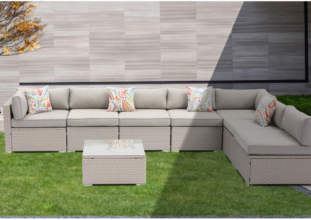 SUNBURY Outdoor Sectional 8-Piece Wicker Sofa in Pearl Gray, w 7 Pillows in Psychedelic Colors Elegant Patio Furniture Chair and Table Set for Backyard Garden Porch