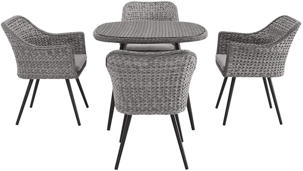 Modway EEI-3320-GRY-GRY-SET Endeavor 5 Piece Outdoor Patio Wicker Rattan Dining Set Gray, Set of 5