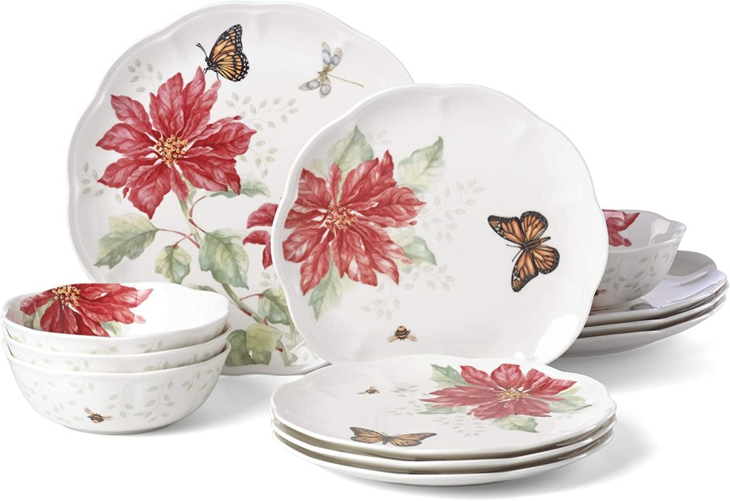 Lenox Butterfly Meadow Christmas Poinsettia 12 Piece Dinnerware Set mother's day gift