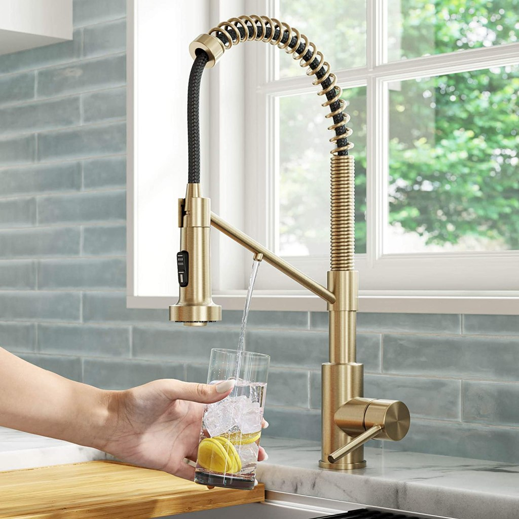 Kraus KFF-1610SFACB Bolden 2-in-1 Commercial Style Pull-Down Single Handle Filter Kitchen Faucet for Reverse Osmosis or Water Filtration System, Spot Free Antique Champagne Bronze