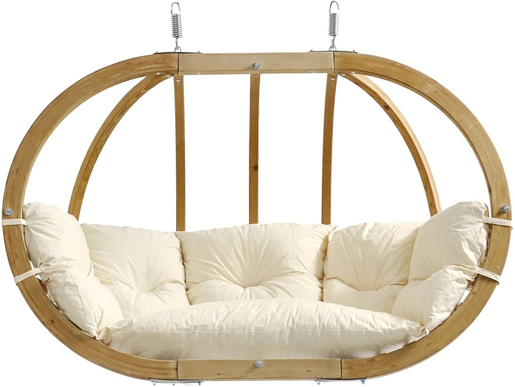 """BYER OF MAINE Globo Royal Double Chair, Treated Spruce Wood, Weatherproof, Waterproof, Agora Outdoor Fabric Cushion, Two Person, 70"""" W x 48"""" h x..."""