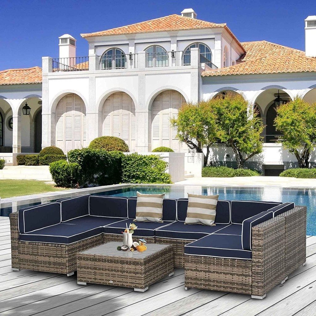 Outsunny 7-Piece Outdoor Wicker Patio Sofa Set, Modern Rattan Conversation Furniture Set with Cushions & Table, Blue