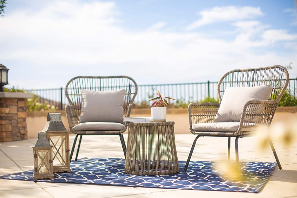 Barton 3pcs Bistro Chat Patio Wicker (2) Chairs, Glass Top Side Table with Soft Cushions Included, Grey