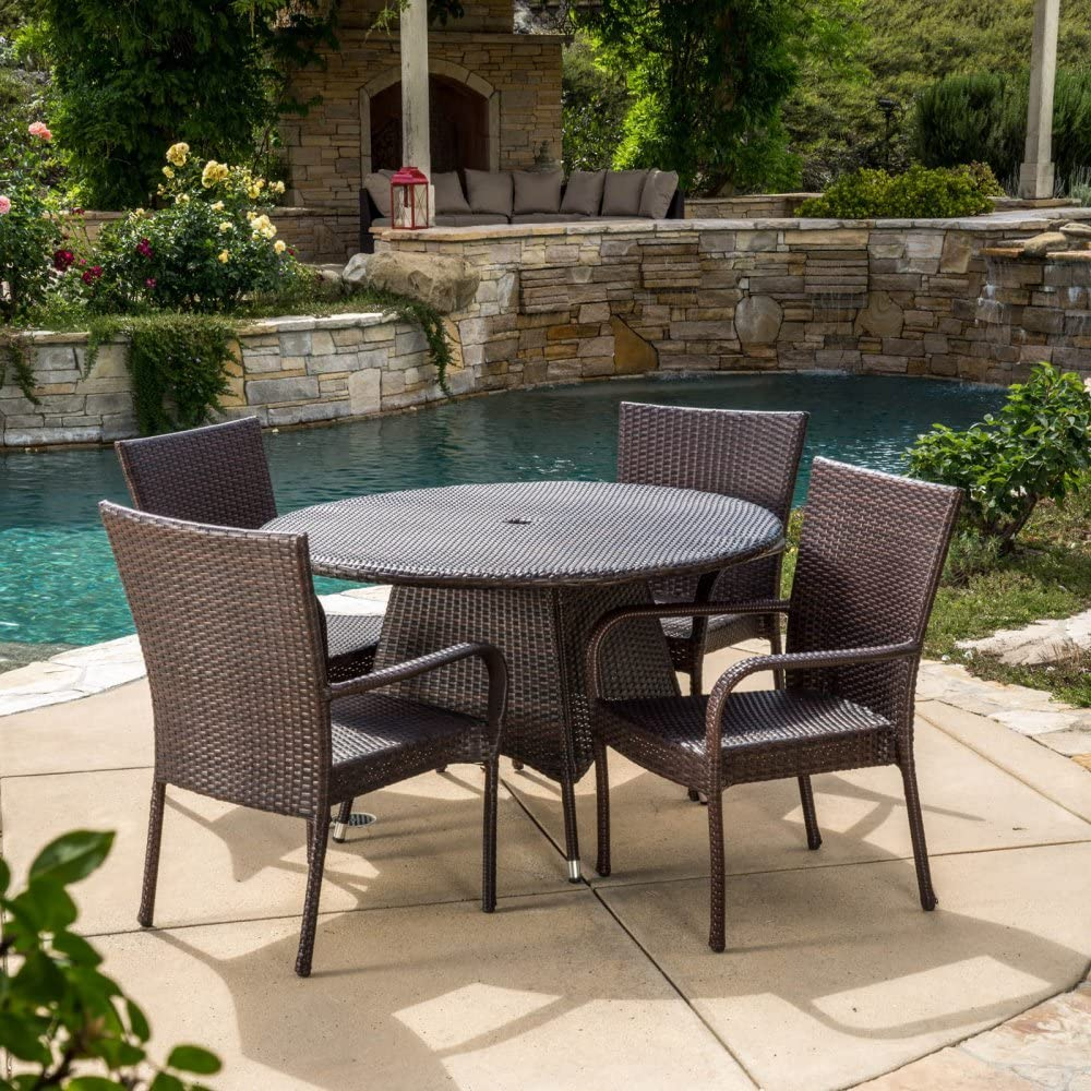 Christopher Knight Home Grant Outdoor 5-Piece Wicker Dining Set by