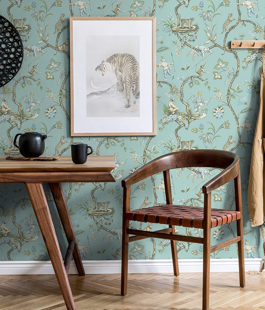 Scalamandre SCS3846 Robin Egg Chinoise Exotique Wallpaper, Blue