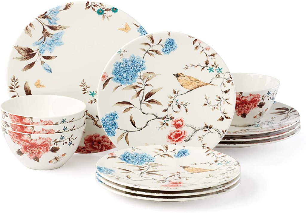 Lenox Sprig & Vine 12-Piece Dinnerware Set, 17.30 LB, White mother's day gift