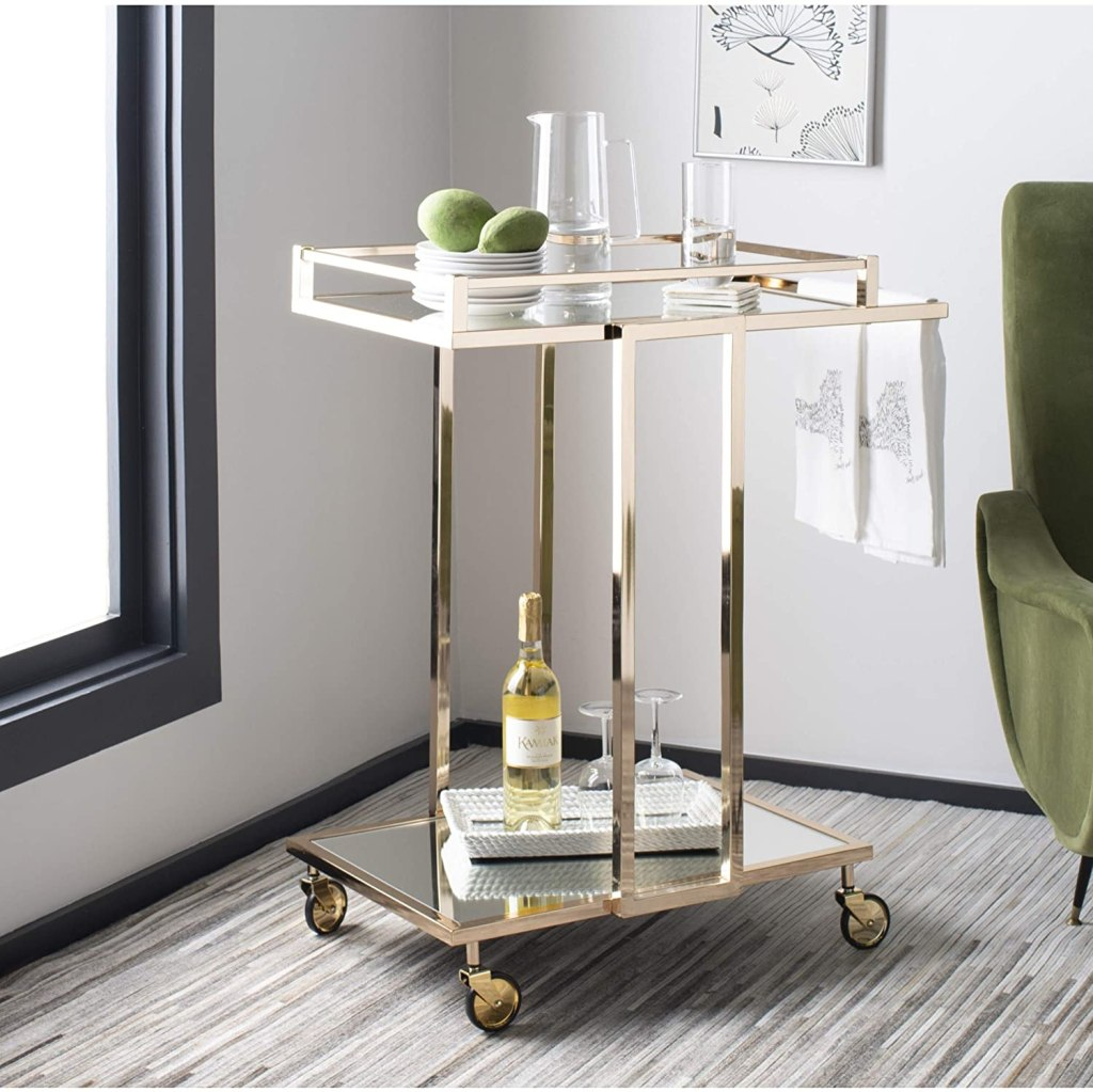Safavieh Capri Bar Cart, Gold and Mirror