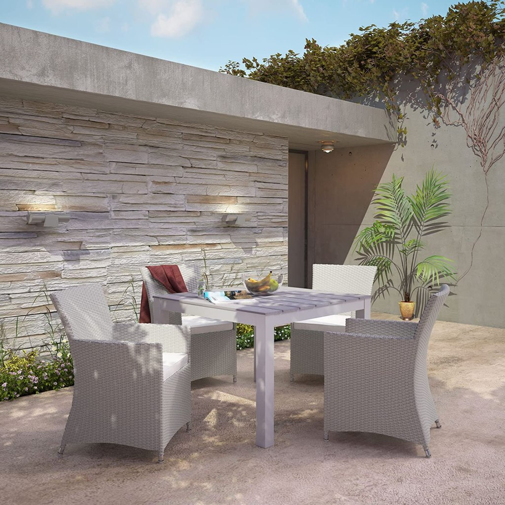 """Modway Junction Wicker Rattan 5-Piece Outdoor Patio Dining Set with 39"""" Dining Table and Four Dining Armchairs with Cushions in Gray White"""