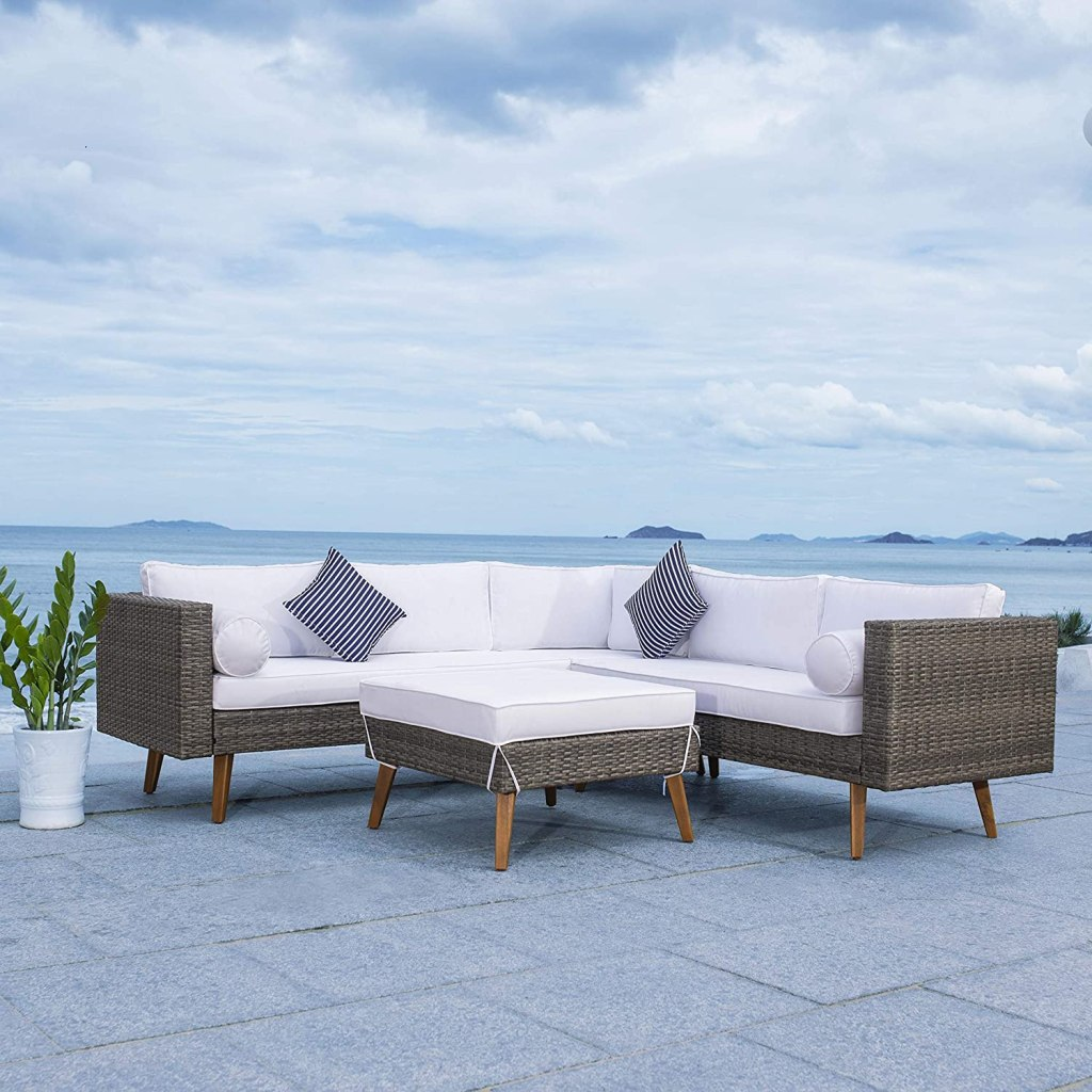 Safavieh Outdoor Collection Analon Wicker Cushion Sectional Set PAT7716A-3BX, Black/White