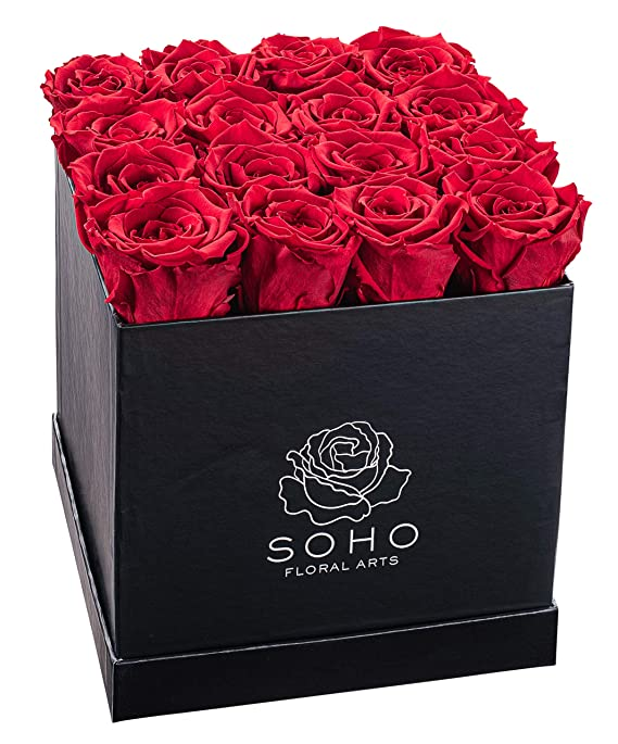 Soho Floral Arts | Real Roses That Last a Year and More | Fresh Flowers | Eternal Roses in a Box (Red 16 X-Large Roses) | Mothers Day Gifts | Gifts for Mom