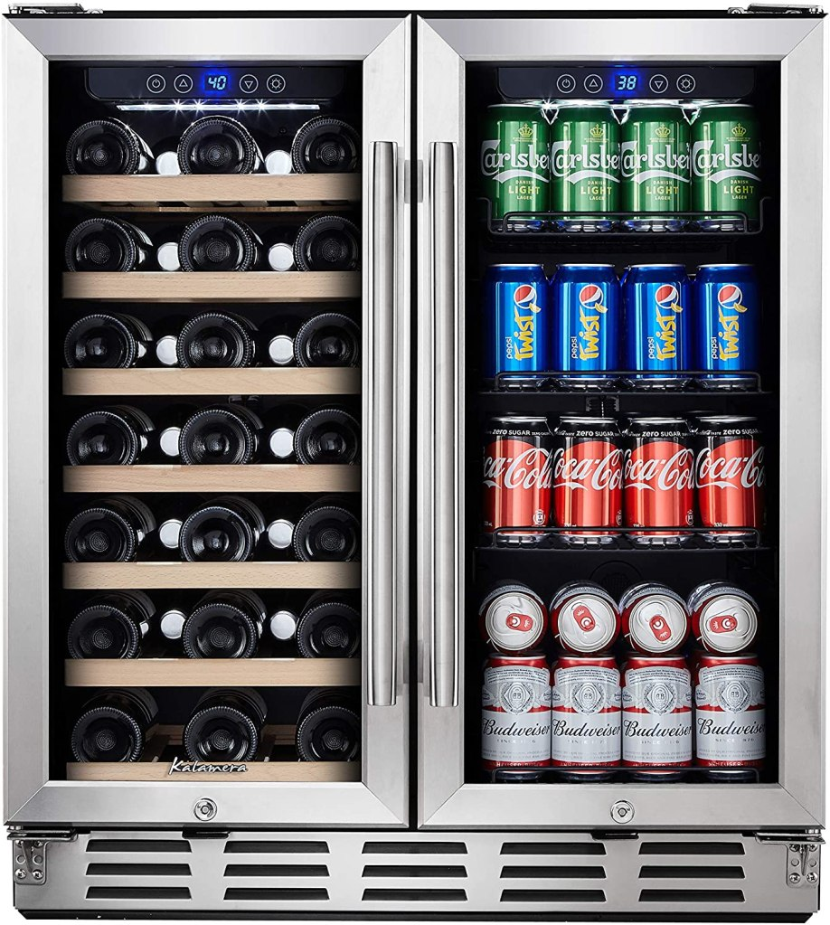 Kalamera Wine and Beverage Refrigerator - 30 inch with Glass Front Door - Beer, Wine, Soda And Drink Mini Fridge - Stainless Bar Drinks Fridge with Built In Dual Zone & Adjustable Shelves