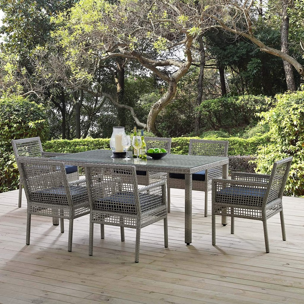 """Modway Aura Wicker Rattan 7-Piece Outdoor Patio Dining Set with 68"""" Rectangle Dining Table and 6 Dining Armchairs in Gray Navy"""
