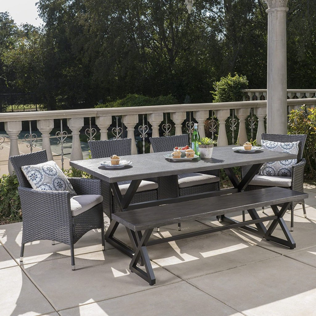 Christopher Knight Home Owenburg Outdoor Aluminum Dining Set with Bench and Wicker Dining Chairs, 6-Pcs Set, Grey / Black / Silver