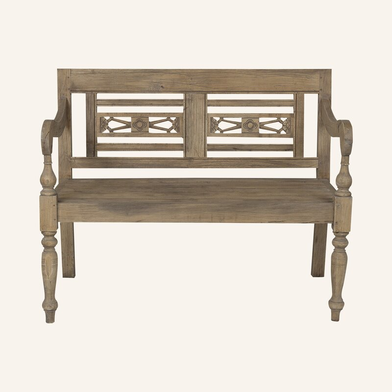 Brittany Carved Wood Bench