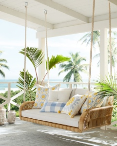 Inspired by warm summers along the coast, this is a dreamy hangout, indeed...Generously sized, it's as family-friendly as it looks. And every detail is about relaxed luxury – from the weatherproof Sunbrella® mattress that makes cleaning a breeze, to the large bolster pillows that call for an afternoon nap. Steel end caps add a modern glint.