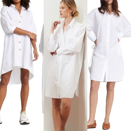 oversized white button-up shirt dresses