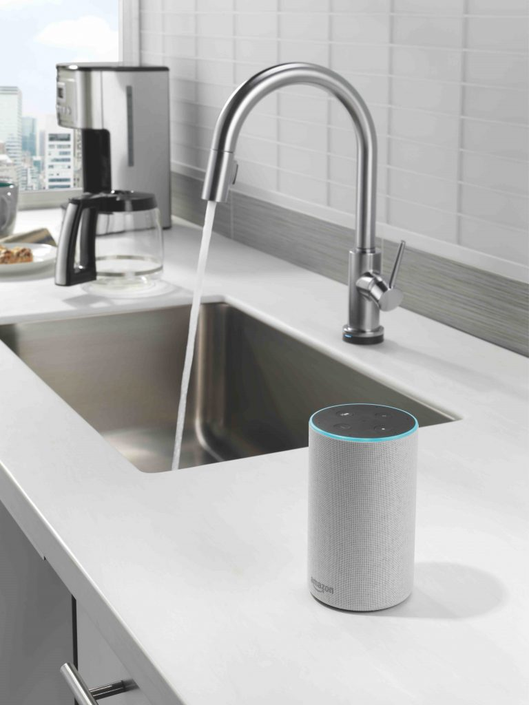 Delta VoiceIQ Technology pairs with connected home devices to provide exactly the amount of water needed,