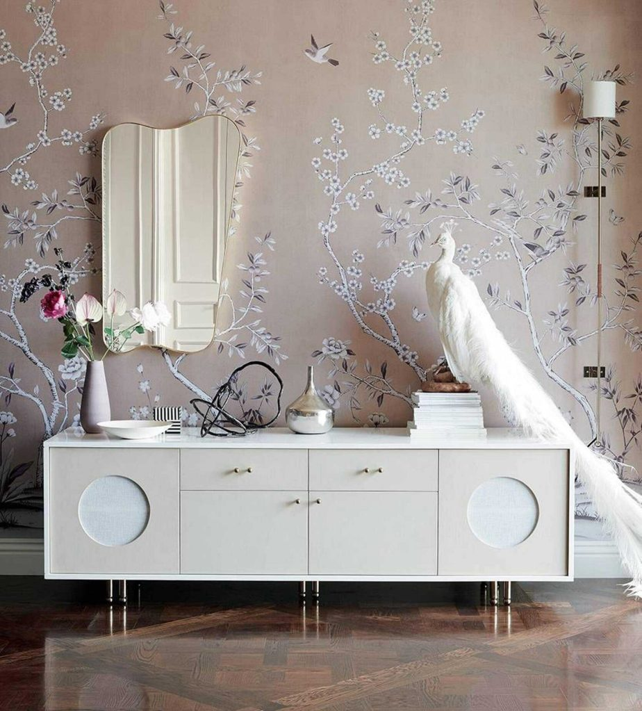 chinoisserie wallpaper with midcentury modern console
