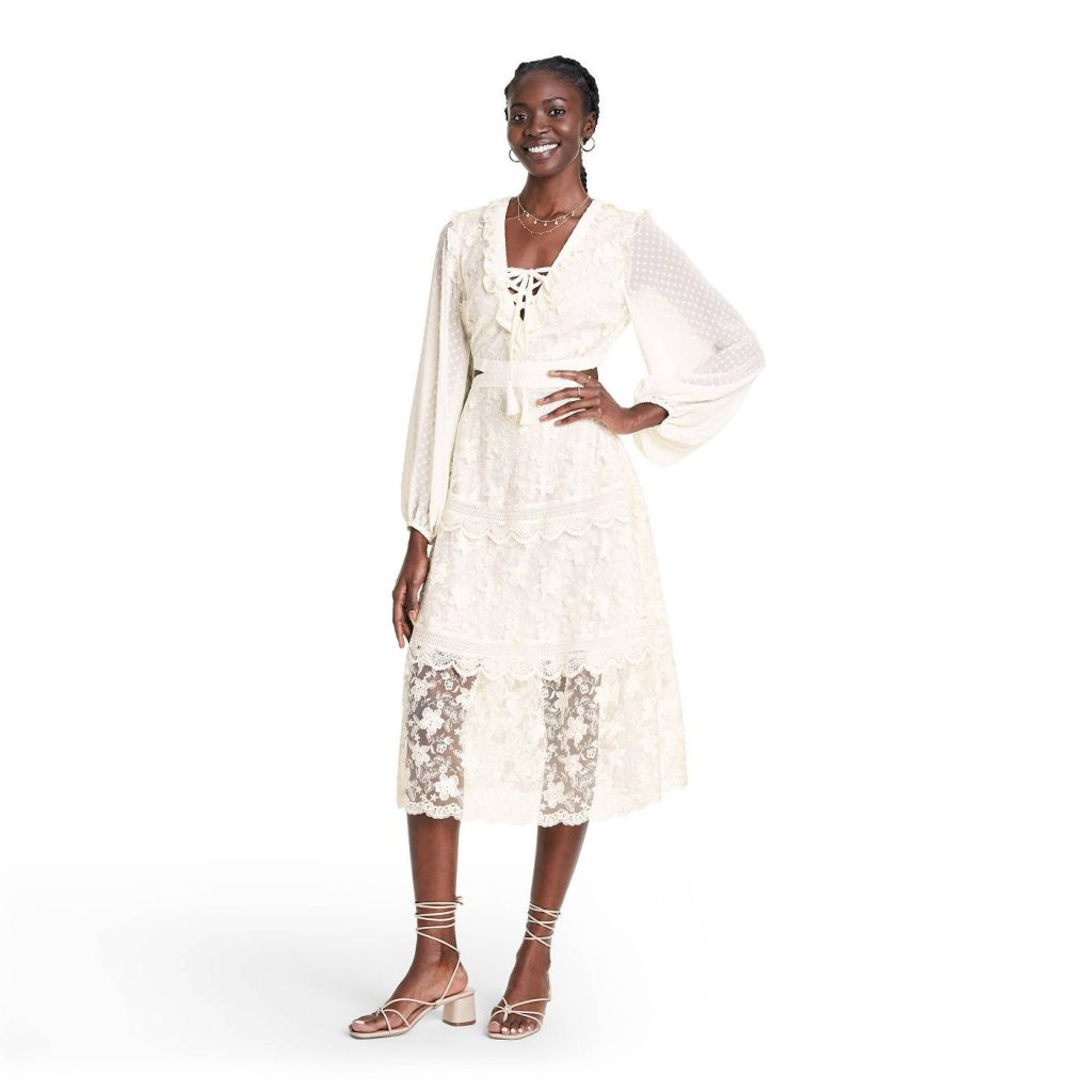 Long Sleeve Lace Cutout Dress - ALEXIS for Target Cream