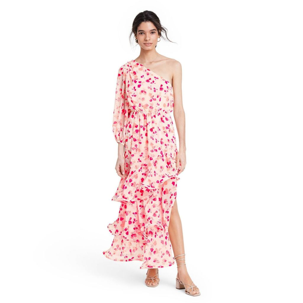 Floral One Shoulder Ruffle Dress - ALEXIS for Target Pink