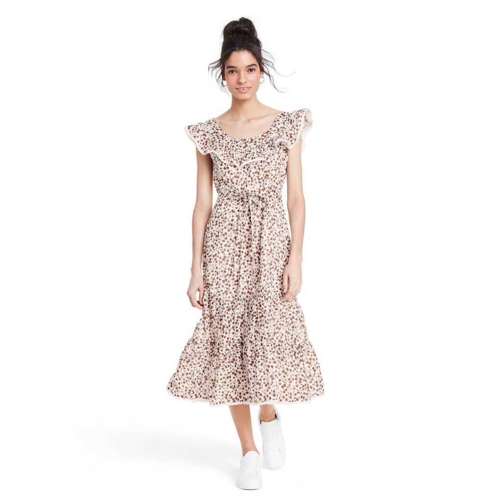 Floral Sleeveless Ruffle Dress - RIXO for Target Brown