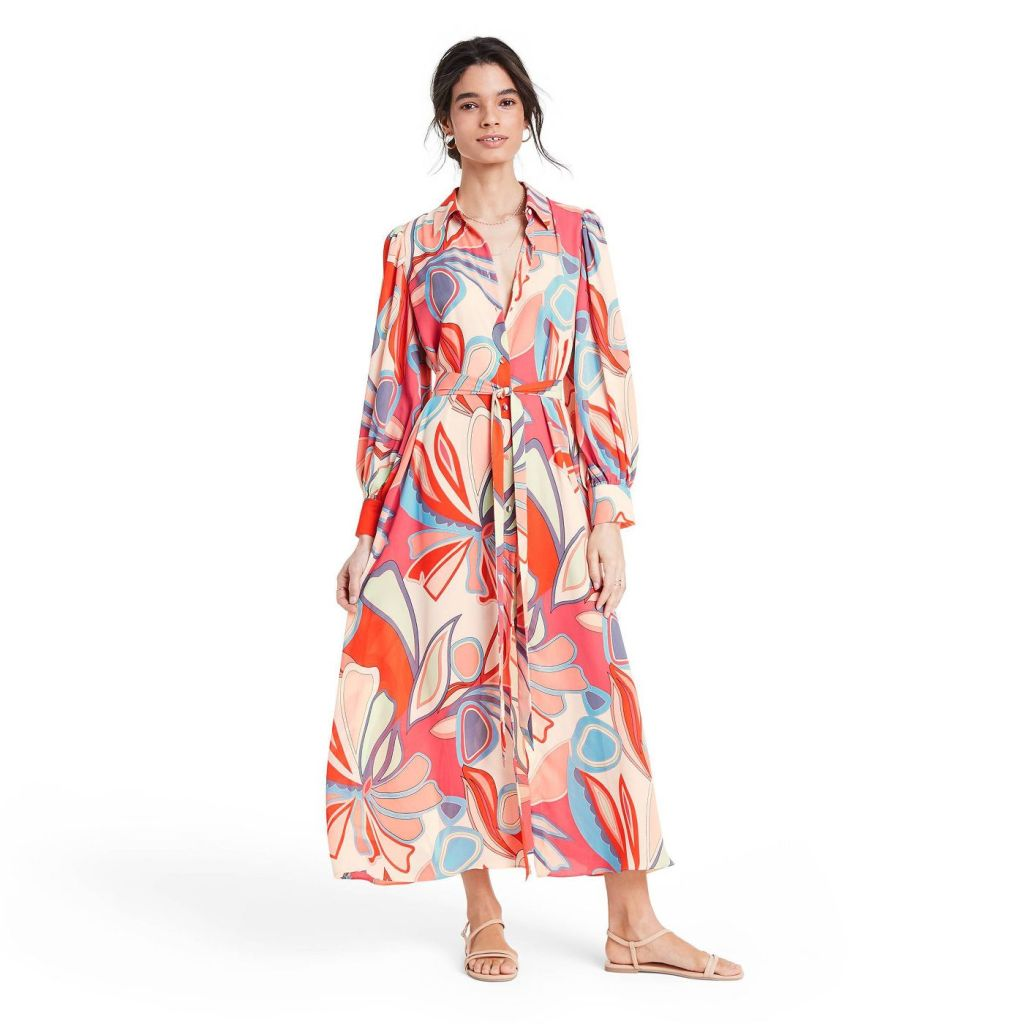 Mixed Floral Long Sleeve Robe Dress - ALEXIS for Target