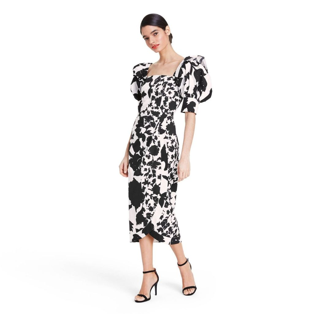 Floral Puff Sleeve Faux Wrap Dress - Christopher John Rogers for Target Black/White