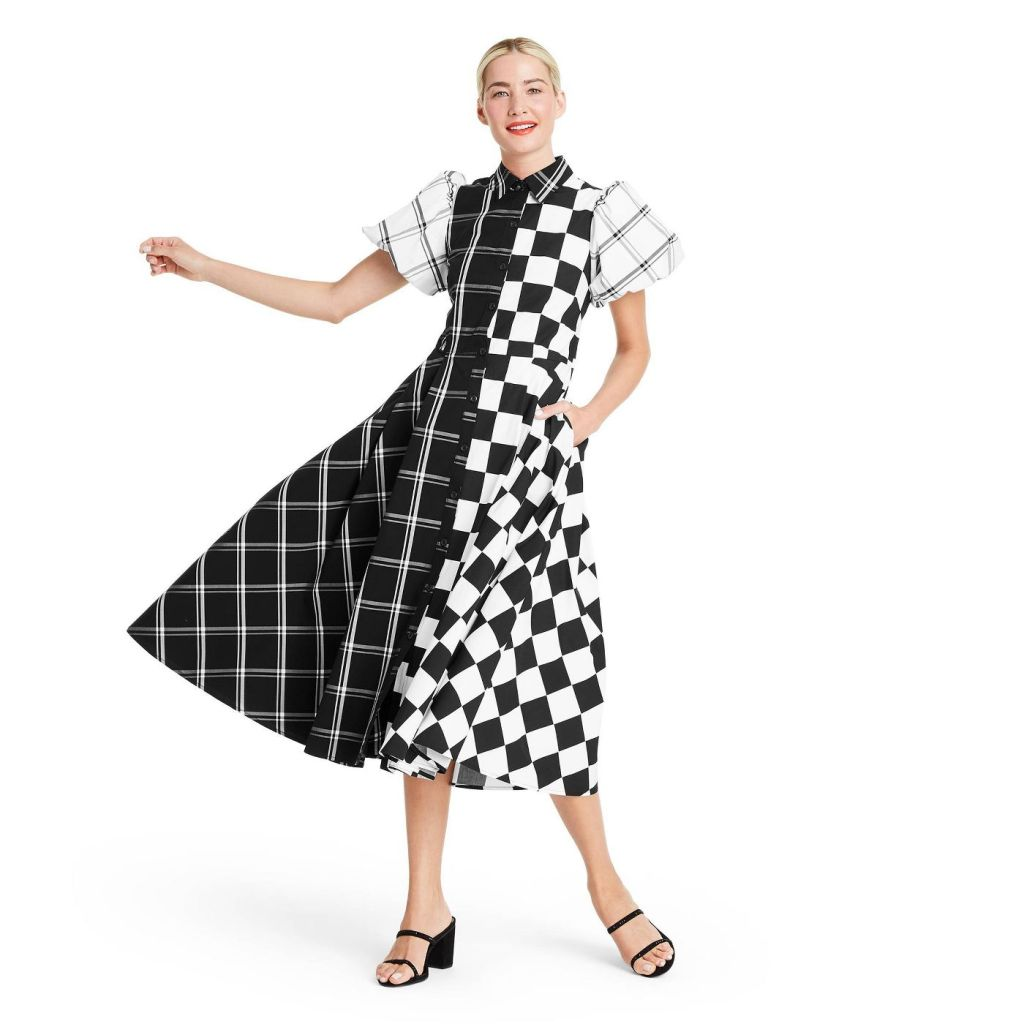 Mixed Checkerboard Puff Sleeve Shirtdress - Christopher John Rogers for Target Black/White