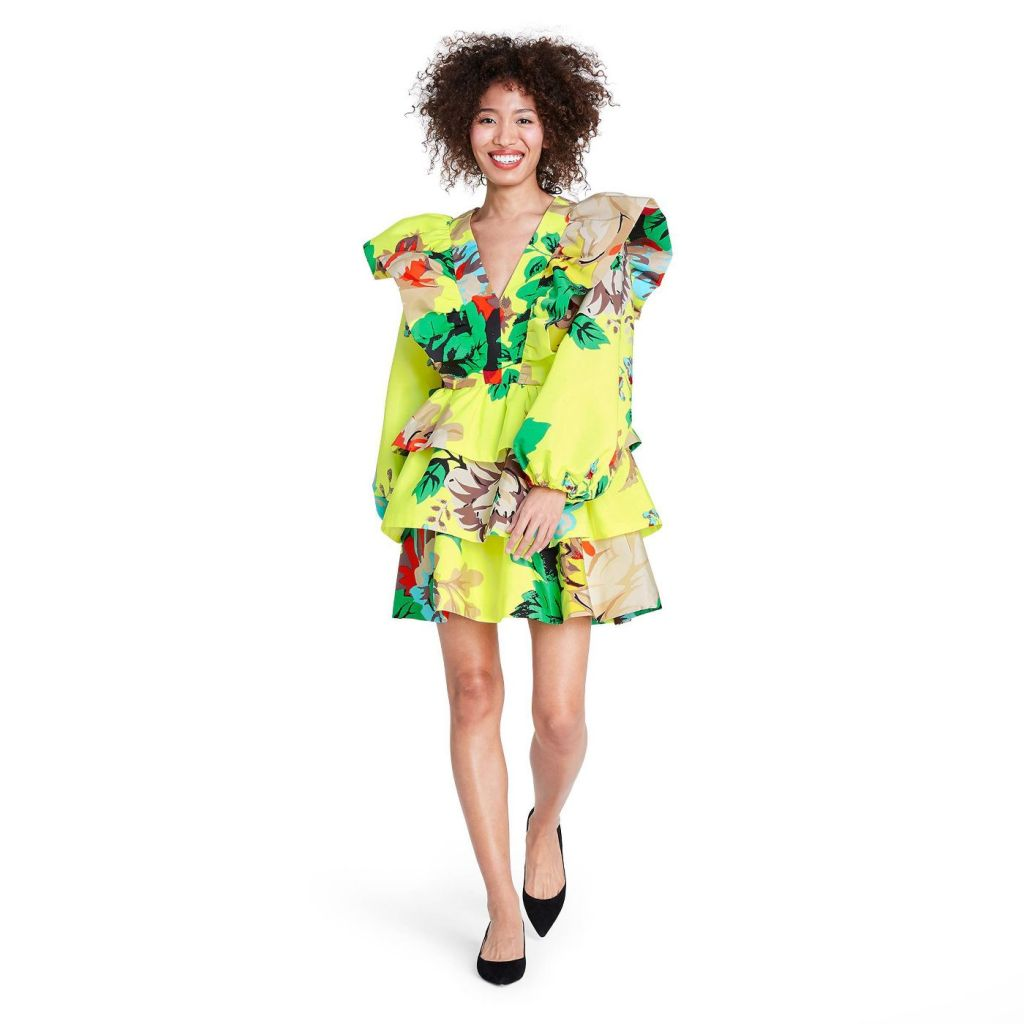 Floral Long Sleeve Ruffle Dress - Christopher John Rogers for Target Yellow