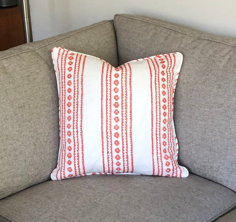 Thibaut New Haven Stripe in Coral (on Both Sides) Designer Pillow Cover with or without Piping- Square, Lumbar and Euro Pillow Cover Sizes