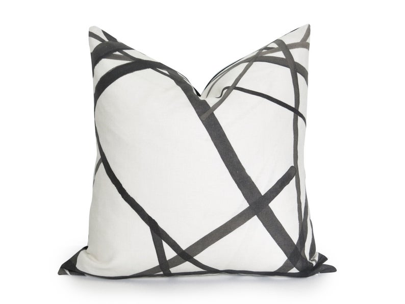 Channels Pillow Cover - Kelly Wearstler Channels - Ebony - Black and Off-White - Geometric Pillow - Black Pillow - Neutral