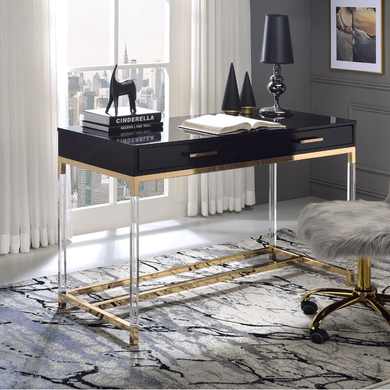 Kunala Desk with Built in Outlets  acrylic Lucite