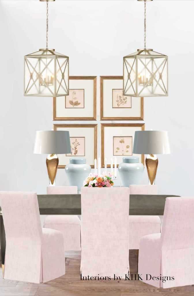 modern and glam dining room