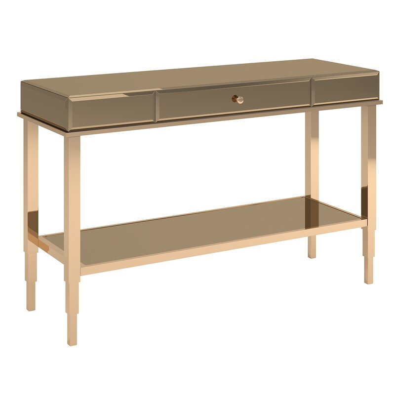 A chic spot to set down mail, magazines, and more, this mirrored console table brings both function and fashion to your living room or entryway. Crafted with a metal frame, this clean-lined design sports a sleek metallic finish with beveled glass panels for a glamorous look