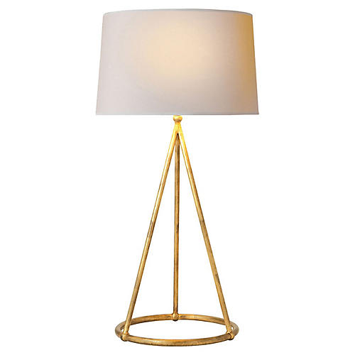 Nina Tapered Table Lamp, Gilded Iron