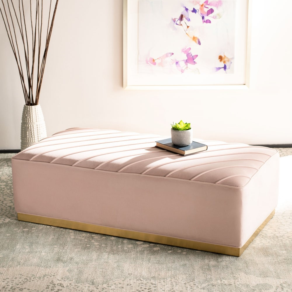 SAFAVIEH Couture Lilac Diagonal Tufted Ottoman - Light Pink