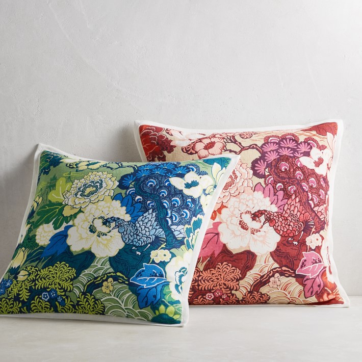 Schumacher Peacock Printed And Embroidered Pillow Cover