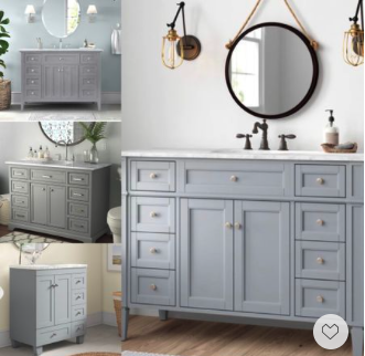 Memorial Day Sale—-these neutral soft grey vanities we handpicked will make your bath space feel calming and tranquil.