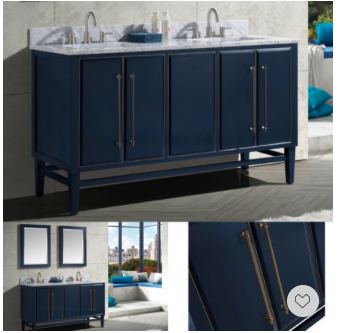 Memorial Day Weekend Sale, Save Big —-the design of this navy blue vanity is striking thanks to its Art Deco influenced details.
