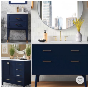 Memorial Day Sale, Save Big—-these chic and stylish navy blue modern bath vanities are elegant and refined and will instantly elevate your bath space.