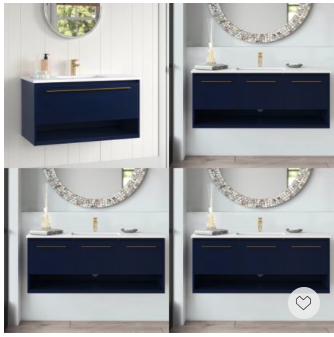 """Memorial Day Weekend Sale, Save Big— coming with 24"""", 40"""", 36"""" and 48"""", this stunning navy blue floating vanity with glamorous brass hardware will make your bath look super chic"""