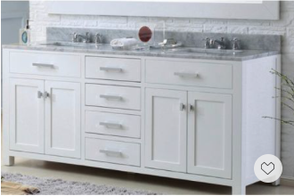 Memorial Day Sale, Save Big- this transitional white vanity is both elegant and functional with a lot of storage.