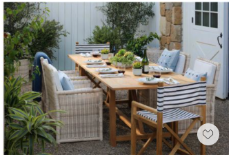 Alfresco dining for the coming summer. This chic outdoor dining set has a chic relaxing coastal vibe and now everything is 20% off with code DIVEIN