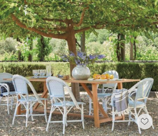 Dreamy alfresco Dining with these chic modernized French Bistro weather-friendly chairs. We love the color of blue on these chairs. Now everything is 20% off with Code DIVEIN